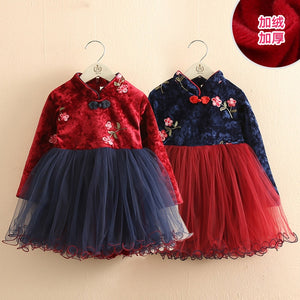 2020 Winter 2-12 Years Teenage New Year Embroidery Lace Red Traditional Chinese Garments Tang Kids Baby Girls Plus Velvet Dress - shopbabyitems