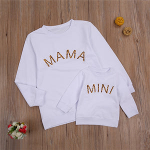 2021 Spring Autumn Mom and Me Family Matching Sweatshirt Baby Girls Letter Print Long Sleeve Pullover Top Hoodie Clothes - shopbabyitems