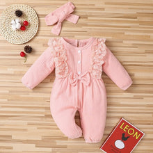 Load image into Gallery viewer, 2021 Spring Baby Girl Rompers Newborn Clothes Toddler Flare Sleeve Solid Lace Design Romper - shopbabyitems