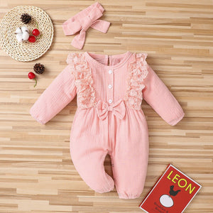 2021 Spring Baby Girl Rompers Newborn Clothes Toddler Flare Sleeve Solid Lace Design Romper - shopbabyitems