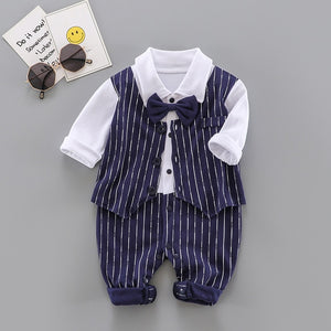 2021 new Baby Boy Romper Newborn Baby Clothes Casual Long Sleeve Gentleman boys 1th birthday party Jumpsuits infant Costume - shopbabyitems