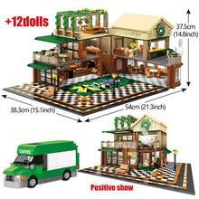 Load image into Gallery viewer, 2059Pcs Creative Cafe Coffee Shop Model Building Blocks Legoing City Street View Casual House Figures Bricks Toys for Children - shopbabyitems