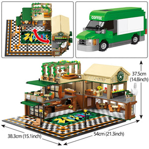 2059Pcs Creative Cafe Coffee Shop Model Building Blocks Legoing City Street View Casual House Figures Bricks Toys for Children - shopbabyitems