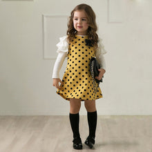 Load image into Gallery viewer, Spring Baby Girl Long Sleeve Polka Dot Bowknot Ruffle Mini Dress Kids Clothes - shopbabyitems