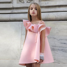 Load image into Gallery viewer, Fashion Baby Girls Dress One Shoulder Solid Color Ruffled Wedding Party Clothes - shopbabyitems