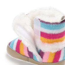 Load image into Gallery viewer, Baby Girl Rainbow Stripe Coral Fleece Snow Boots Bowknot Anti-slip Sole Shoes - shopbabyitems