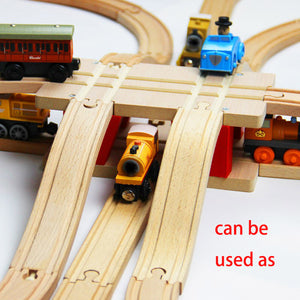 22.2*13*7.8cm Red Rotating Bridge Wooden Train Track Accessories  Railway Train Toys - shopbabyitems