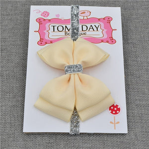 22 color new Baby hair bow flower Headband Silver ribbon Hair Band Handmade - shopbabyitems