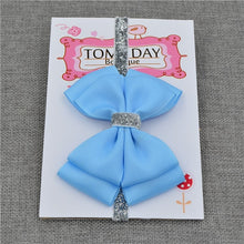 Load image into Gallery viewer, 22 color new Baby hair bow flower Headband Silver ribbon Hair Band Handmade - shopbabyitems