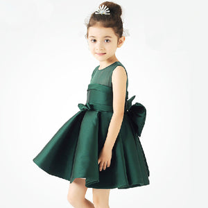 European and American flower girl dress wine red dark green - shopbabyitems