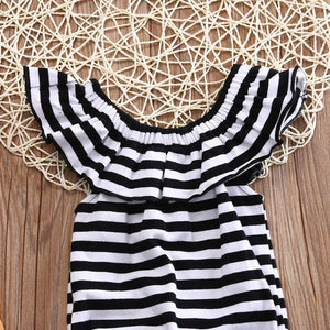 Ruffles Striped Baby Clothes Romper Newborn Baby Girl Jumpsuit Playsuit Outfit - shopbabyitems