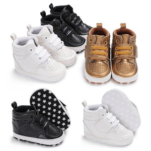 High Top Lace Up Baby Boy Girl Sports Prewalker Crib Shoes Toddler Sneakers - shopbabyitems