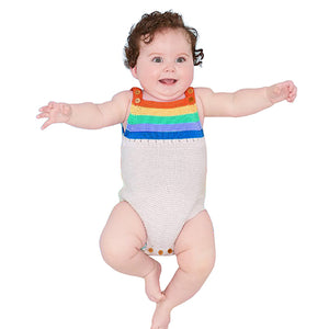 Rainbow Color Stripes Knitting Sleeveless Baby Boy Girl Romper Summer Jumpsuit - shopbabyitems