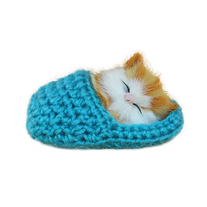 Cute Sleeping Cat Slippers Sounding Simulation Plush Animal Toy Decor Kids Gift - shopbabyitems