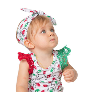 Xmas Tree Pumpkin Toddler Baby Girl Lace Fly Sleeve Romper Jumpsuit and Headband - shopbabyitems