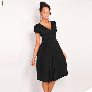 Pregnant Women Summer Comfy Maternity Dress Casual Loose V-Neck Pleated Dress - shopbabyitems