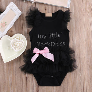 Kid Baby Girls Cute Lace Ruffle Letter Print Sleeveless Bodysuit Romper Jumpsuit - shopbabyitems