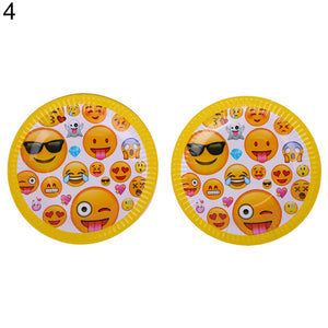 Cute Emoji Smile Cry Baby Kids Birthday Party Event Decoration Supplies Set - shopbabyitems