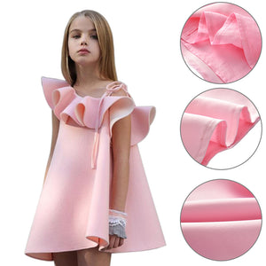 Fashion Baby Girls Dress One Shoulder Solid Color Ruffled Wedding Party Clothes - shopbabyitems