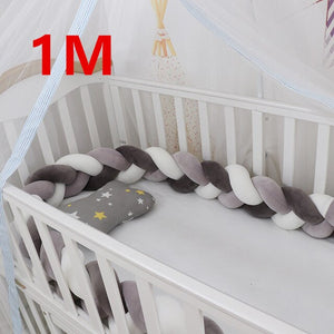 2M/1M/3M Baby Bed Bumper Baby Braided Crib Bumpers - shopbabyitems