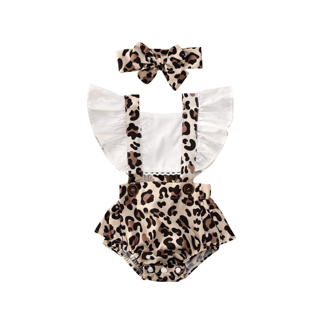 2PCS Infant Baby Girl Leopard Romper Jumpsuit Clothes Outfits Summer 0-24M - shopbabyitems
