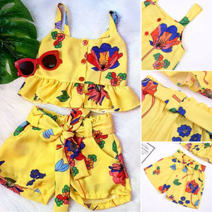 2PCS Summer Cute Toddler Kid Baby Girl Clothes Off Shoulder Flower Top Short Pants Outfit - shopbabyitems
