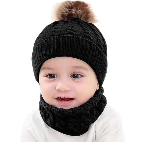 2Pcs Toddler Baby Girls Boys Winter Warm Knitted Beanie Cap+Scarf Keep Warm Set - shopbabyitems