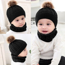 Load image into Gallery viewer, 2Pcs Toddler Hat Baby Girls Boys Winter Warm Knitted Wool Hemming Hat Beanie - shopbabyitems