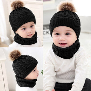 2Pcs Toddler Hat Baby Girls Boys Winter Warm Knitted Wool Hemming Hat Beanie - shopbabyitems