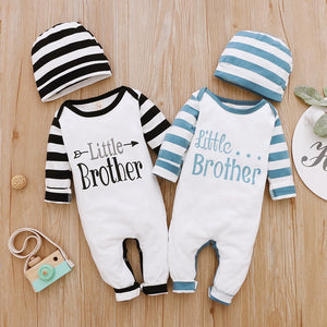 2Piece Winter Cotton Baby Boy Clothes Set Long Sleeve Romper+Hat Letter Print Kids Clothing for Newborn Fall Baby Outfits D30 - shopbabyitems