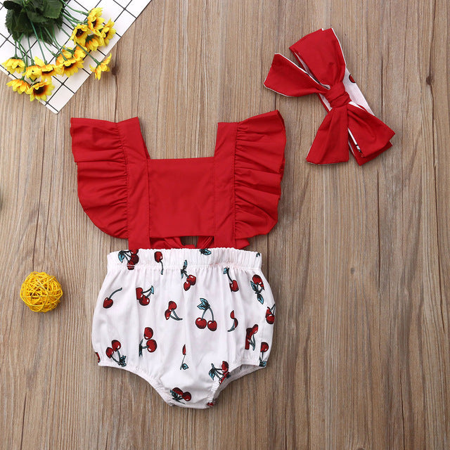 2pcs Newborn Baby Girl Ruffle Cherry Print Bodysuits Headband Sunsuit Outfits Summer Clothes - shopbabyitems