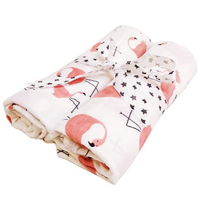 2pcs/set Newborn Baby Blanket 100% Cotton Blanket Cartoon Pattern Multi-use Infant Stroller Cover Towel Baby Muslin Swaddle Wrap - shopbabyitems