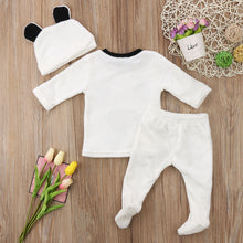 Load image into Gallery viewer, 3 pieces Long Sleeve Fleece Bear Top Pant and Hat Set - shopbabyitems