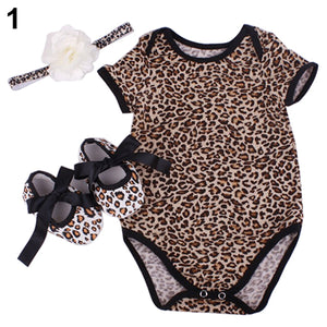 3Pcs Newborn Baby Floral Leopard Star Romper Bodysuit Headband Shoes Set - shopbabyitems