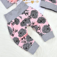 Load image into Gallery viewer, 4Pcs/Set Newborn Baby Girl Sweet Letters Romper Flower Pants Hat Headband Outfit - shopbabyitems