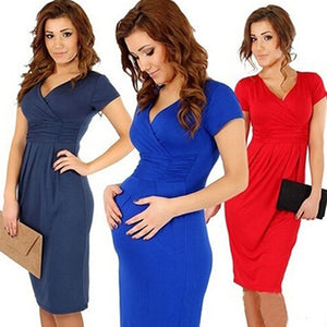 Women's Summer Maternity Pregnancy Wrapped V-neck Ruched Short Sleeve Dress - shopbabyitems