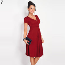 Load image into Gallery viewer, Pregnant Women Summer Comfy Maternity Dress Casual Loose V-Neck Pleated Dress - shopbabyitems