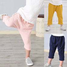 Load image into Gallery viewer, Unisex Solid Color Wrinkle Cotton Baby Kids Long Pants Trousers Leisure Bloomers - shopbabyitems