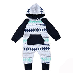 Cute Geometric Cotton Long Sleeve Romper Hoodie Baby Newborn Infant Clothing - shopbabyitems