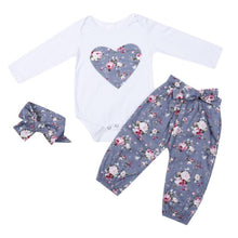 Load image into Gallery viewer, Kid Girls Glower Heart Cotton Clothing Set Long Sleeves Coat Pant Autumn Hairband - shopbabyitems