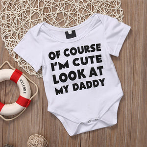Newborn Infant Baby Girl Boys Romper Letter Print Short Sleeve Bodysuit Outfit - shopbabyitems