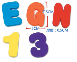 36pcs (26 Letters + 10 Number) Baby Foam Letter and Numbers Stickers - shopbabyitems
