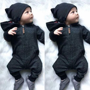 Baby Infants Boys Girls Casual Autumn Long Sleeve Cotton Hooded Romper Jumpsuit - shopbabyitems