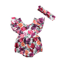 Load image into Gallery viewer, Fashion Colorful Rose Ruffle Shoulder Sleeveless Baby Girl Romper with Hairband - shopbabyitems