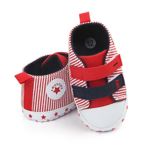 Infant Toddler Baby Girl Boy Star Stripe Canvas Casual Soft Sole Walking Shoes - shopbabyitems