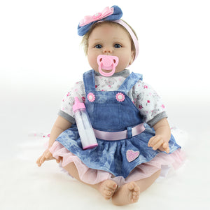 Lovely Handmade Newborn Baby Girl Simulation Reborn Doll Silicone Bathing Toy - shopbabyitems