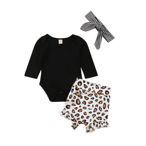 3PCS Newborn Kids Baby Girls Leopard Clothes Romper - shopbabyitems