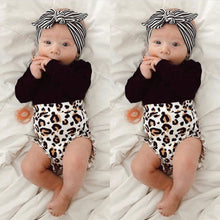 Load image into Gallery viewer, 3PCS Newborn Kids Baby Girls Leopard Clothes Romper - shopbabyitems