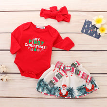 Load image into Gallery viewer, 3Pcs Cotton Christmas Baby Girls Clothes Set Print Bodysuit+Skirt+Headband Winter Baby Girls Outfits Toddler Fall Clothing D30 - shopbabyitems