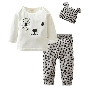 Cartoon Rabbit Pattern Long Sleeve T-shirt+Casual Pants+Headband Infant Clothing Outfits - shopbabyitems